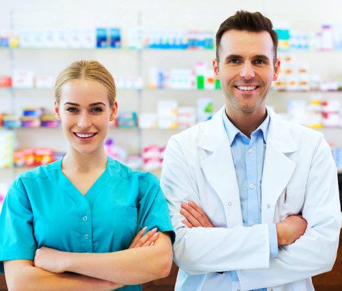 2 pharmacist inside a pharmacy